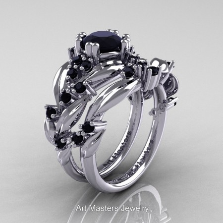 Nature-Classic-14K-White-Gold-1-0-Ct-Black-Diamond-Leaf-and-Vine-Engagement-Ring-Wedding-Band-Set-R340S-14KWGBD-P