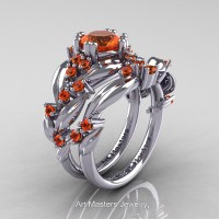Nature Classic 14K White Gold 1.0 Ct Orange Sapphire Leaf and Vine Engagement Ring Wedding Band Set R340SG-14KWGOS