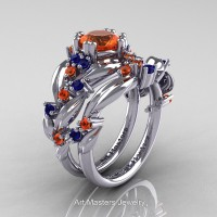 Nature Classic 14K White Gold 1.0 Ct Orange and Blue Sapphire Leaf and Vine Engagement Ring Wedding Band Set R340SG-14KWGBSOS