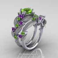 Nature Classic 14K White Gold 1.0 Ct Peridot Amethyst Leaf and Vine Engagement Ring Wedding Band Set R340SS-14KWGAMP