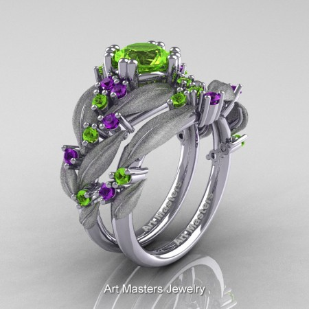Nature-Classic-14K-White-Gold-1-0-Ct-Peridot-Amethyst-Leaf-and-Vine-Engagement-Ring-Wedding-Band-Set-R340SS-14KWGAMP-P