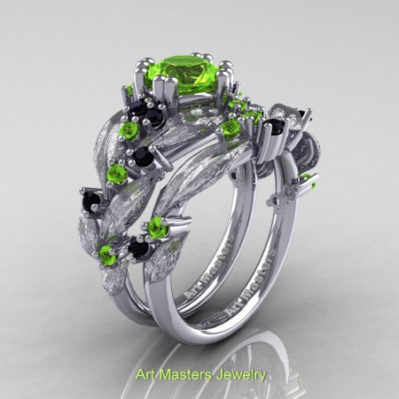 Nature-Classic-14K-White-Gold-1-0-Ct-Peridot-Black-Diamond-Leaf-and-Vine-Engagement-Ring-Wedding-Band-Set-R340SS-14KWGBDP-P