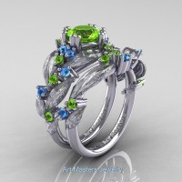 Nature Classic 14K White Gold 1.0 Ct Peridot Blue Topaz Leaf and Vine Engagement Ring Wedding Band Set R340SS-14KWGBTP