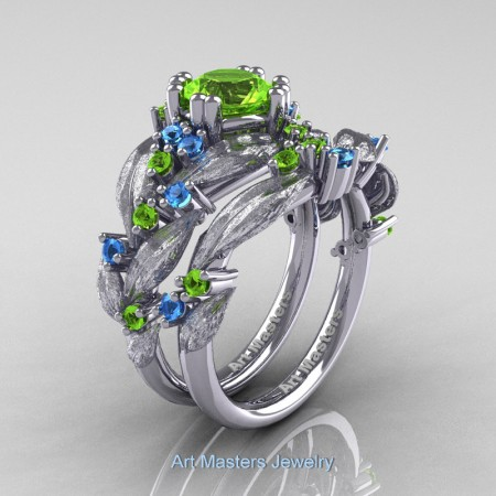 Nature-Classic-14K-White-Gold-1-0-Ct-Peridot-Blue-Topaz-Leaf-and-Vine-Engagement-Ring-Wedding-Band-Set-R340SS-14KWGBTP-P