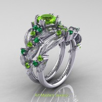 Nature Classic 14K White Gold 1.0 Ct Peridot Emerald Leaf and Vine Engagement Ring Wedding Band Set R340SS-14KWGEMP