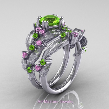 Nature-Classic-14K-White-Gold-1-0-Ct-Peridot-Light-Pink-Sapphire-Leaf-and-Vine-Engagement-Ring-Wedding-Band-Set-R340SS-14KWGLPSP-P