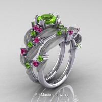 Nature Classic 14K White Gold 1.0 Ct Peridot Pink Sapphire Leaf and Vine Engagement Ring Wedding Band Set R340SS-14KWGPSP