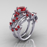 Nature Classic 14K White Gold 1.0 Ct Ruby Leaf and Vine Engagement Ring Wedding Band Set R340SG-14KWGR
