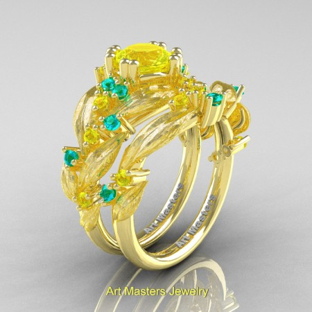 Nature-Classic-14K-Yellow-Gold-1-0-Ct-Yellow-Sapphire-Blue-Zircon-Leaf-and-Vine-Engagement-Ring-Wedding-Band-Set-R340SS-14KYBZYS-P