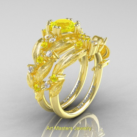 Nature-Classic-14K-Yellow-Gold-1-0-Ct-Yellow-Sapphire-Diamond-Leaf-and-Vine-Engagement-Ring-Wedding-Band-Set-R340SS-14KYEMD-P