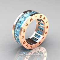 Womens Modern 14K Rose Gold Aquamarine Channel Cluster Infinity Wedding Band R174F-14KRGAQ