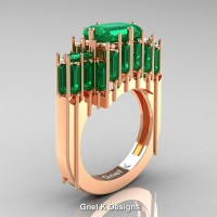 Gothic 14K Rose Gold 2.62 Ct Emerald Cut 4.0 Ct Baguette Cut Emerald Cathedral Ring R424-14KRGEM