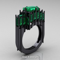 Gothic 14K Black Gold 2.62 Ct Emerald Cut 4.0 Ct Baguette Cut Emerald Cathedral Ring R424-14KBGEM