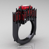 Gothic 14K Black Gold 2.62 Ct Emerald Cut 4.0 Ct Baguette Cut Ruby Cathedral Ring R424-14KBGR