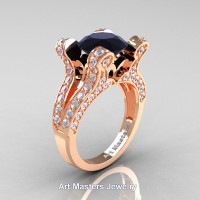 French 14K Rose Gold 3.0 Ct Black and White Diamond Pisces Wedding Ring Engagement Ring Y228-14KRGDBD
