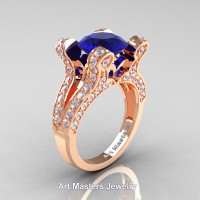 French 14K Rose Gold 3.0 Ct Blue Sapphire Diamond Pisces Wedding Ring Engagement Ring Y228-14KRGDBS