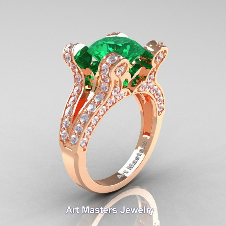 French-14K-Rose-Gold-3-0-Carat-Emerald-Diamond-Pisces-Weddinng-Ring-Engagement-Ring-R228-14KRGDEM-P