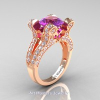 French 14K Rose Gold 3.0 Ct Amethyst Diamond Pisces Wedding Ring Engagement Ring Y228-14KRGDAM