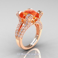 French 14K Rose Gold 3.0 Ct Orange Sapphire Diamond Pisces Wedding Ring Engagement Ring Y228-14KRGDOS