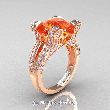 French-14K-Rose-Gold-3-0-Carat-Orange-Sapphire-Diamond-Pisces-Weddinng-Ring-Engagement-Ring-R228-14KRGDOS-P