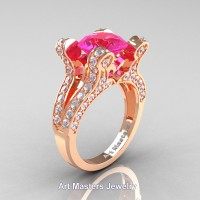 French 14K Rose Gold 3.0 Ct Pink Sapphire Diamond Pisces Wedding Ring Engagement Ring Y228-14KRGDPS