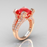 French 14K Rose Gold 3.0 Ct Ruby Diamond Pisces Wedding Ring Engagement Ring Y228-14KRGDR