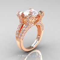 French 14K Rose Gold 3.0 Ct White Sapphire Diamond Pisces Wedding Ring Engagement Ring Y228-14KRGDWS