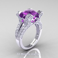 French 14K White Gold 3.0 Ct Amethyst Diamond Pisces Wedding Ring Engagement Ring Y228-14KWGDAM