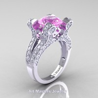 French 14K White Gold 3.0 Ct Light Pink Sapphire Diamond Pisces Wedding Ring Engagement Ring Y228-14KWGDLPS