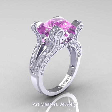French-14K-White-Gold-3-0-Carat-Light-Pink-Sapphire-Diamond-Pisces-Weddinng-Ring-Engagement-Ring-R228-WGDLPS-P2