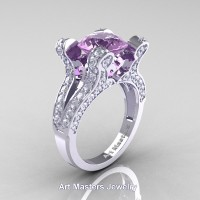 French 14K White Gold 3.0 Ct Lilac Amethyst Diamond Pisces Wedding Ring Engagement Ring Y228-14KWGDLAM