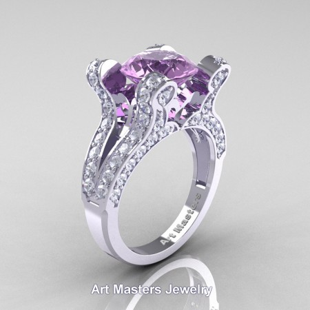 French-14K-White-Gold-3-0-Carat-Lilac-Amethyst-Diamond-Pisces-Weddinng-Ring-Engagement-Ring-R228-WGDLAM-P
