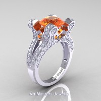 French 14K White Gold 3.0 Ct Orange Sapphire Diamond Pisces Wedding Ring Engagement Ring Y228-14KWGDOS