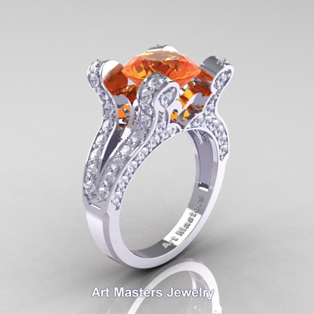French-14K-White-Gold-3-0-Carat-Orange-Sapphire-Diamond-Pisces-Weddinng-Ring-Engagement-Ring-R228-WGDOS-P