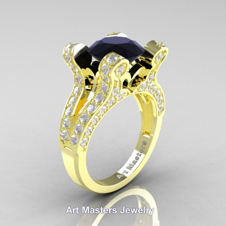 French-14K-Yellow-Gold-3-0-Carat-Black-and-White-Diamond-Pisces-Weddinng-Ring-Engagement-Ring-R228-14KYGDBD-P