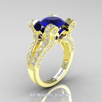 French 14K Yellow Gold 3.0 Ct Blue Sapphire Diamond Pisces Wedding Ring Engagement Ring Y228-14KYGDBS