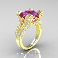 French 14K Yellow Gold 3.0 Ct Amethyst Diamond Pisces Wedding Ring Engagement Ring Y228-14KYGDAM