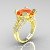 French 14K Yellow Gold 3.0 Ct Orange Sapphire Diamond Pisces Wedding Ring Engagement Ring Y228-14KYGDOS