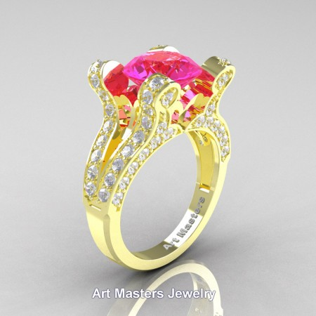 French-14K-Yellow-Gold-3-0-Carat-Pink-Sapphire-Diamond-Pisces-Weddinng-Ring-Engagement-Ring-R228-14KYGDPS-P