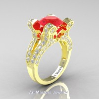 French 14K Yellow Gold 3.0 Ct Ruby Diamond Pisces Wedding Ring Engagement Ring Y228-14KYGDR