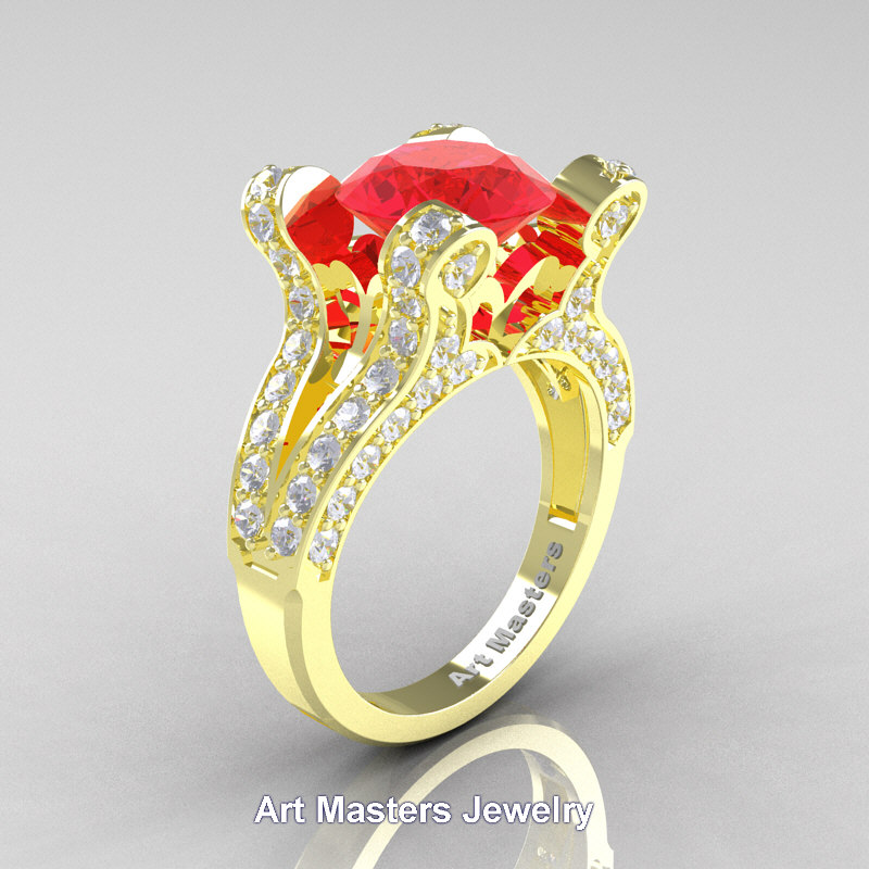 d567ae3918cff French 14K Yellow Gold 3.0 Ct Ruby Diamond Pisces Wedding Ring Engagement  Ring Y228-14KYGDR