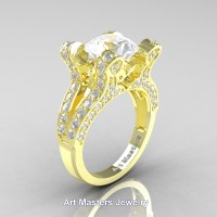 French 14K Yellow Gold 3.0 Ct White Sapphire Diamond Pisces Wedding Ring Engagement Ring Y228-14KYGDWS