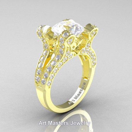 French-14K-Yellow-Gold-3-0-Carat-White-Sapphire-Diamond-Pisces-Weddinng-Ring-Engagement-Ring-R228-14KYGDOS-P