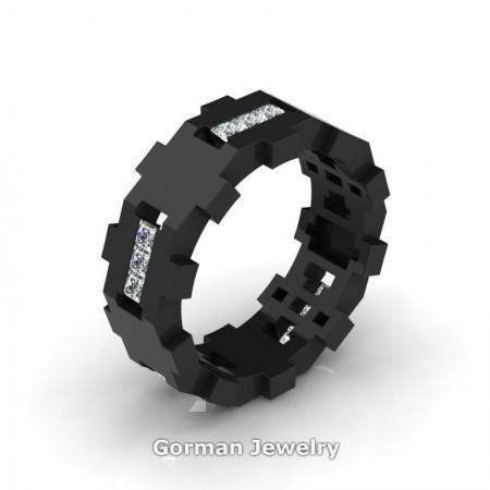 Gorman-Designs-Mens-Modern-Sandblast-14K-Black-Gold-Diamond-Cluster-Wedding-Band-G1175-14KBGSD-P