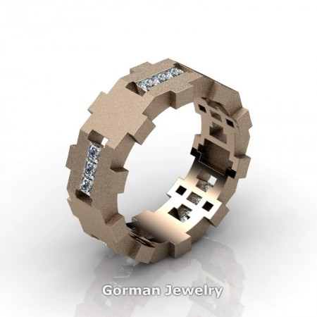Gorman-Designs-Mens-Modern-Sandblast-14K-Rose-Gold-Diamond-Cluster-Wedding-Band-G1175-14KRGSD-P