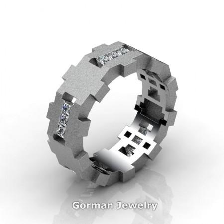 Gorman-Designs-Mens-Modern-Sandblast-14K-White-Gold-Diamond-Cluster-Wedding-Band-G1175-14KWGSD-P