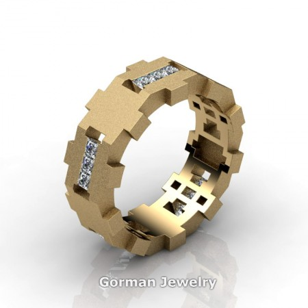Gorman-Designs-Mens-Modern-Sandblast-14K-Yellow-Gold-Diamond-Cluster-Wedding-Band-G1175-14KYGSD-P