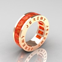 Jeremy Modern 14K Rose Gold 8.0 Ct Princess Orange Sapphire Channel Cluster Mens Wedding Band R374M-14KRGOS