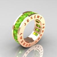Jeremy Modern 14K Rose Gold 8.0 Ct Princess Peridot Channel Cluster Mens Wedding Band R374M-14KRGP