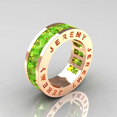 Jeremy-Modern-14K-Rose-Gold-Princess-Peridot-Channel-Cluster-Mens-Wedding-Band-R374M-14KRGP-P